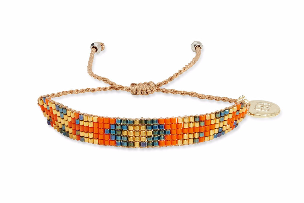 Blackstar 5 Row Orange Miyuki Bead Bracelet - Boho Betty