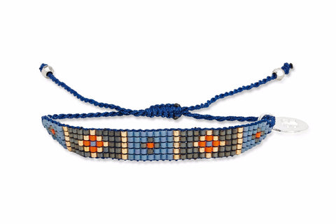 Blue Jean 5 Row Beaded Friendship Bracelet