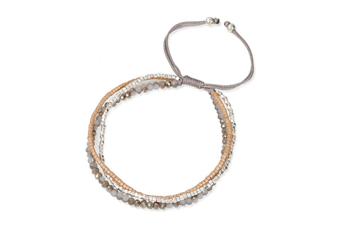 Carme 3 Strand Taupe Crystal Beaded Friendship Bracelet