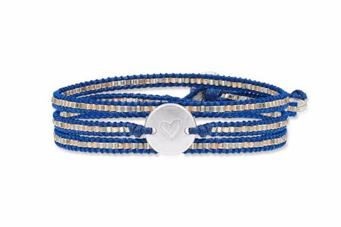Wilson 3 Wrap Navy Beaded Bracelet
