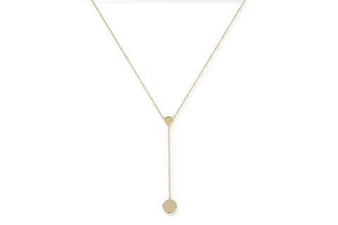 Colombard Gold on Sterling Silver Drop Disc Necklace