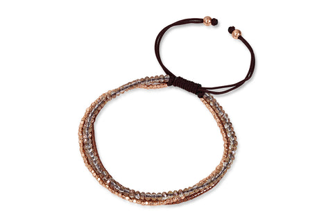 Elara 3 Strand Rose Gold Crystal Beaded Friendship Bracelet