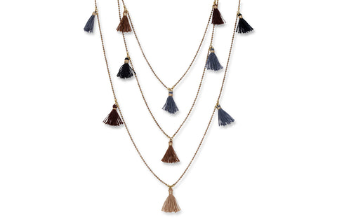 Gaia Gold Chain Necklace with Multi Coloured Tassels