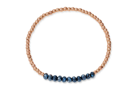 Galatea Rose Gold & Blue Crystal Stretch Bracelet