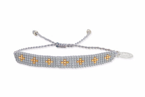 Jean Genie Grey Beaded Friendship Bracelet