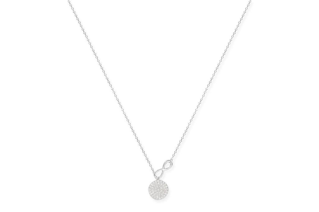 Grappa Silver CZ Lariat Disc Necklace