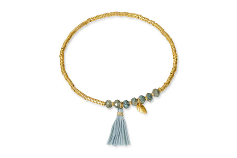 Helike Gold Tassel Stretch Bracelet with Leaf Charm
