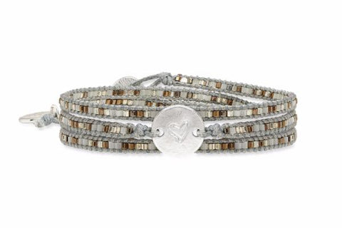 Joplin 3 Wrap Grey Beaded Bracelet