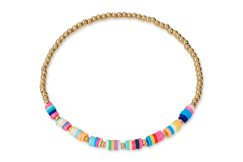 Kore Gold Multi Coloured Beaded Stretch Bracelet