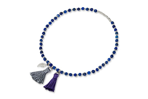 Mananan Blue & Silver Beaded Tassel Stretch Bracelet