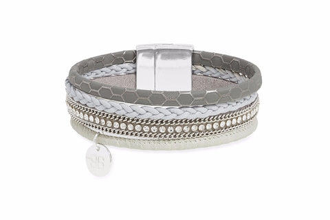 Marten Grey Faux Leather Crystal Magnet Bracelet