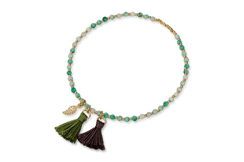 Mondial Green & Gold Beaded Tassel Stretch Bracelet