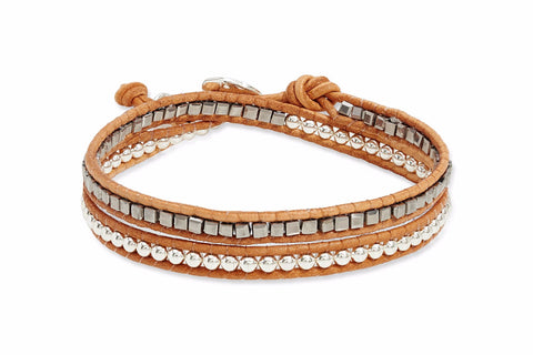 Outhaul Tan Leather 2 Wrap Bracelet