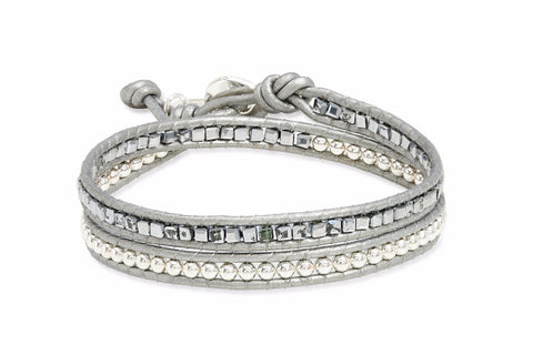String Silver Leather 2 Wrap Bracelet