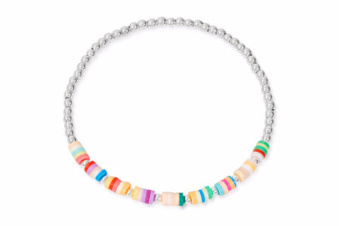 Sula Silver Multi Coloured Beaded Stretch Bracelet