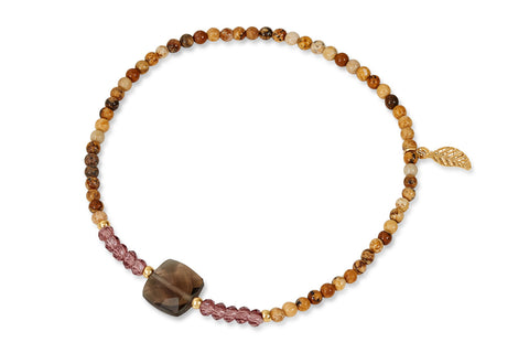 Sunrise Brown & Gold leaf Beaded Stretch Bracelet