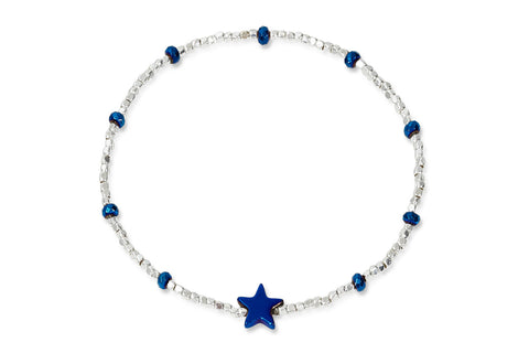 Telesto Blue & Silver Star Stretch Bracelet