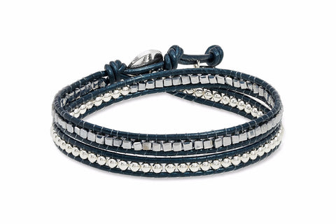 Topper Navy Leather 2 Wrap Bracelet