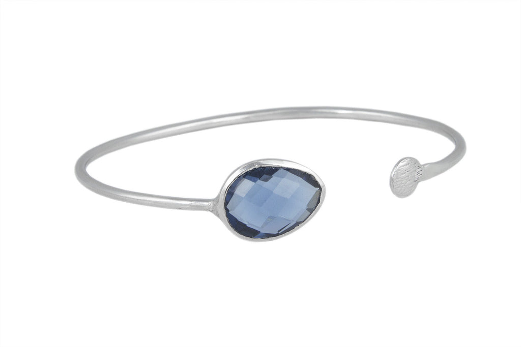 Keaton Cross Over Silver Bangle with Faceted Blue Iolite