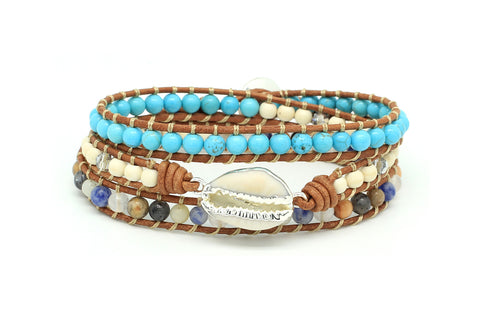 Ballroom Leather 3 Wrap Shell Bracelet