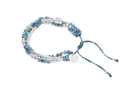 Banjo 3 Strand Blue Crystal Friendship Bracelet