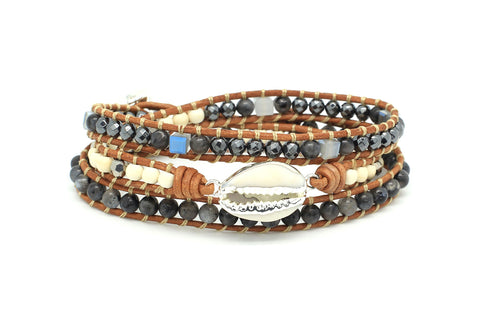 Barn Leather 3 Wrap Shell Bracelet