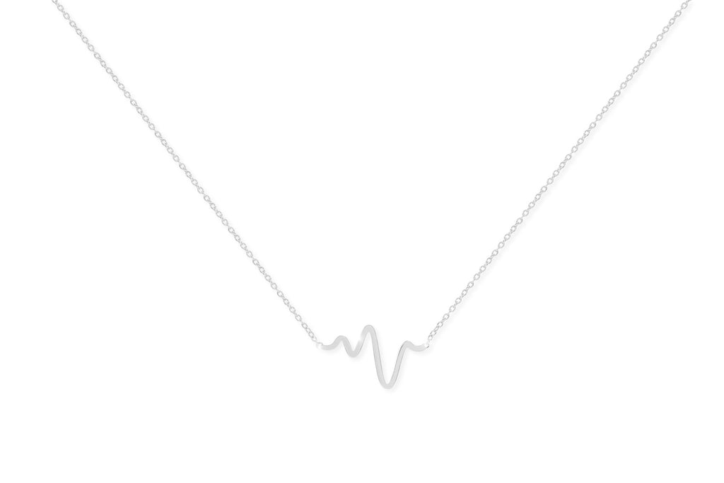 Barolo Sterling Silver Heartbeat Necklace