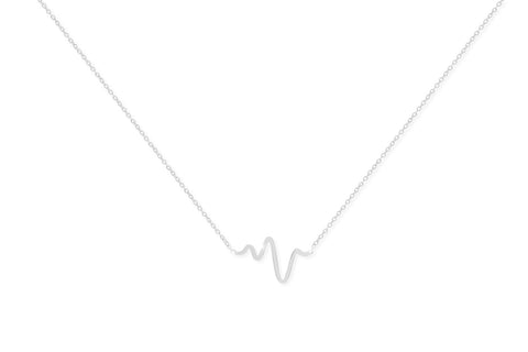 Barolo Sterling Silver Necklace with Heartbeat Pendant