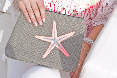 Bassa Grey Clutch Bag with Pink Starfish and Pom Poms