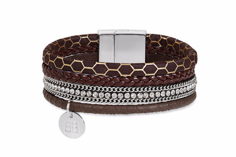 Beaver Brown Faux Leather Crystal Magnet Bracelet