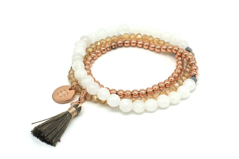 Bellerose 3 Wrap Rose Gold Stretchy Bracelet