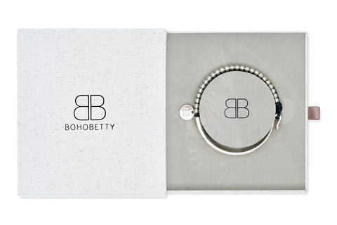 Beuvron Blue Leather & Silver Balls Bangle Gift Set