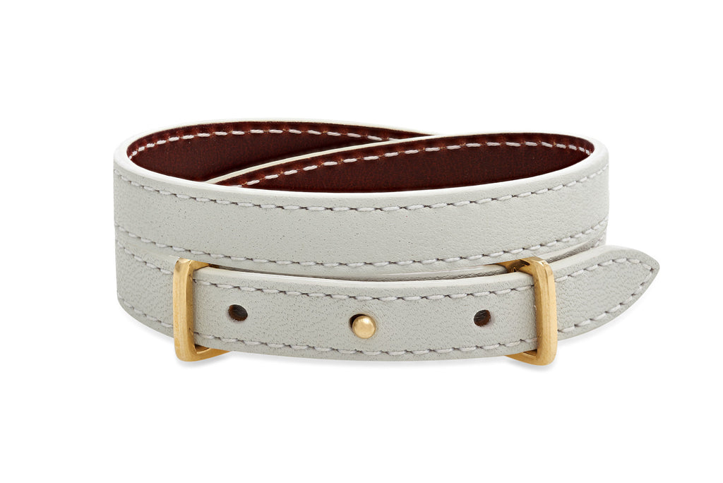 Birch Grey and Brown 2 wrap Leather Reversible Belt-Buckle Bracelet