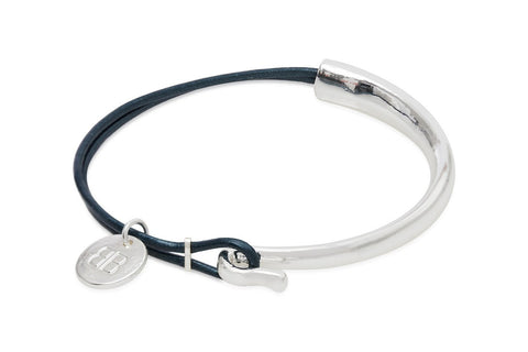 Blies Blue Leather Bangle