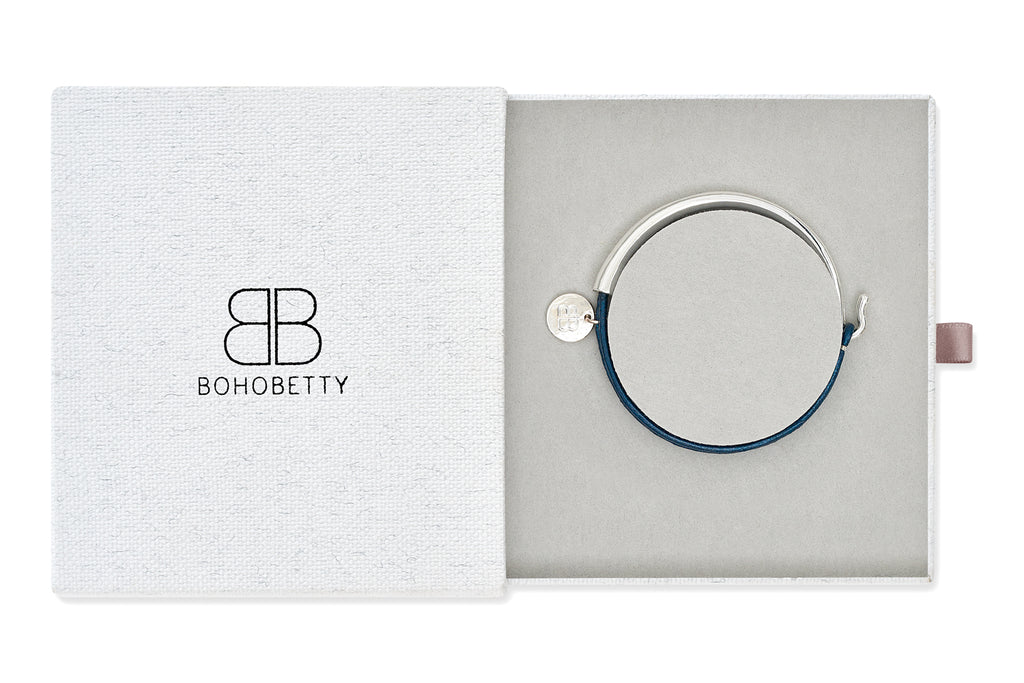 Blies Blue Leather Bangle Gift Set