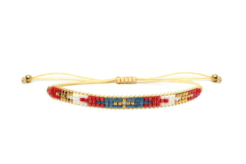 Blue Suede 3 Row Beaded Friendship Bracelet - Boho Betty