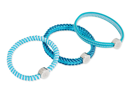 Three Aqua Blue Hair Tie Bracelets