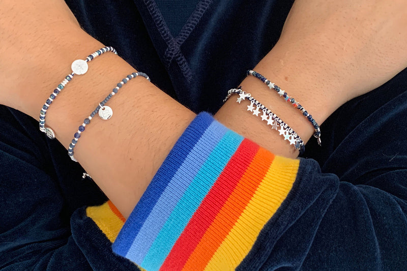 Jaipur Navy 2 Layered Bracelet Stack - Boho Betty
