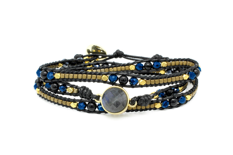 America Midnight Gemstone Wrap Bracelet - Boho Betty