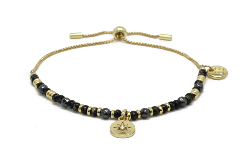 Apinti Black Gemstone Charm Bracelet - Boho Betty