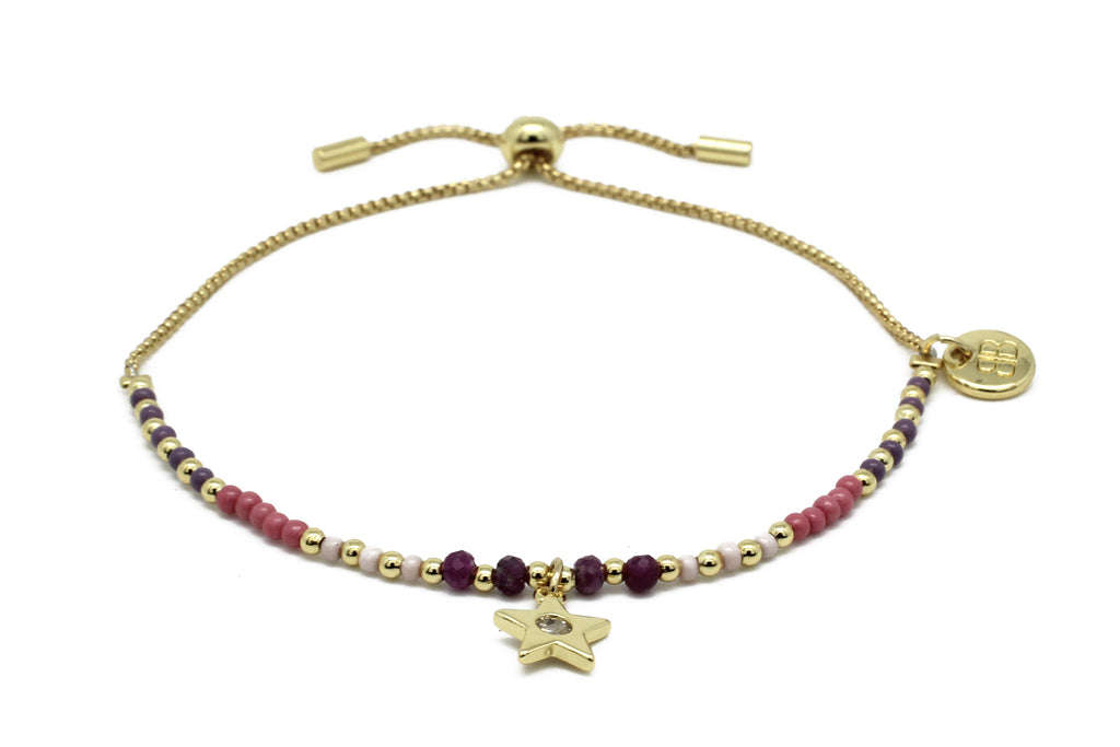 Apinti Pink Gemstone Charm Bracelet - Boho Betty
