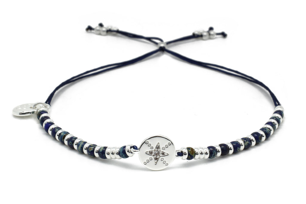 Bass Navy & Silver Gemstone Charm Bracelet - Boho Betty