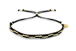 Carnival Black & Gold 2 Row Beaded Friendship Bracelet - Boho Betty