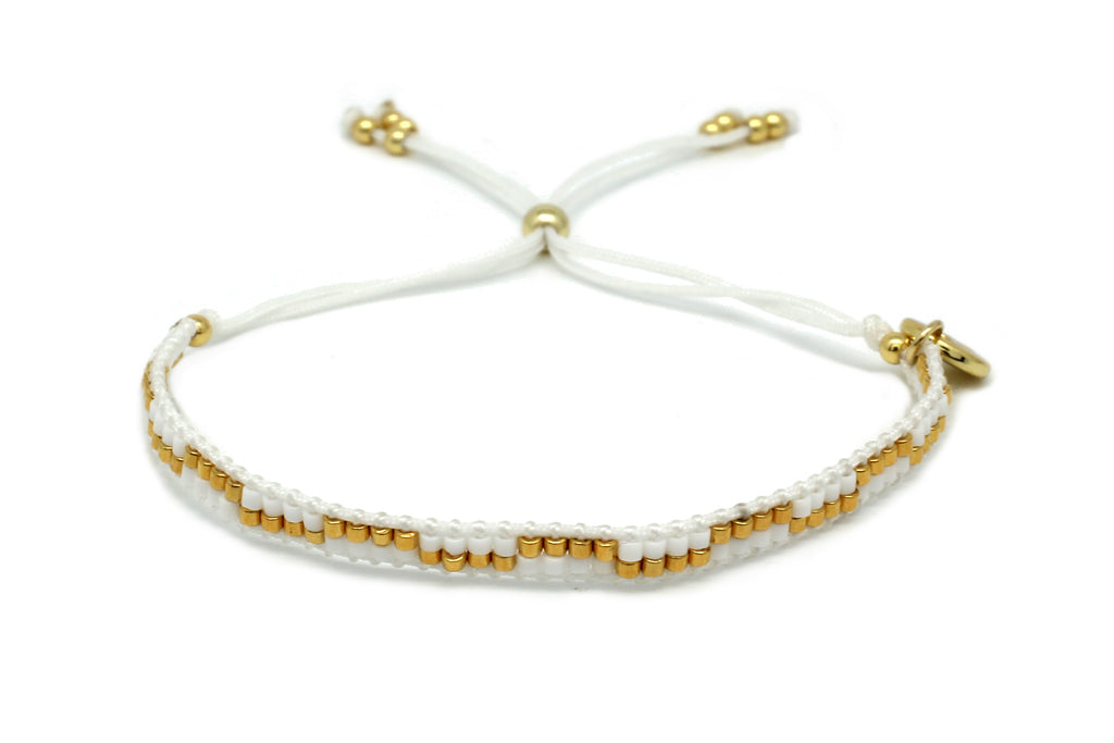 Carnival Ivory & Gold 2 Row Beaded Friendship Bracelet - Boho Betty