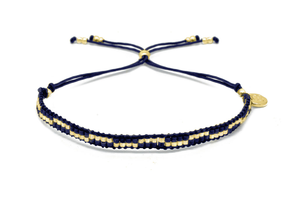Carnival Navy Blue & Gold 2 Row Beaded Friendship Bracelet - Boho Betty