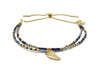 Clarinet Navy Blue Gemstone Bracelet with Wing Charm - Boho Betty