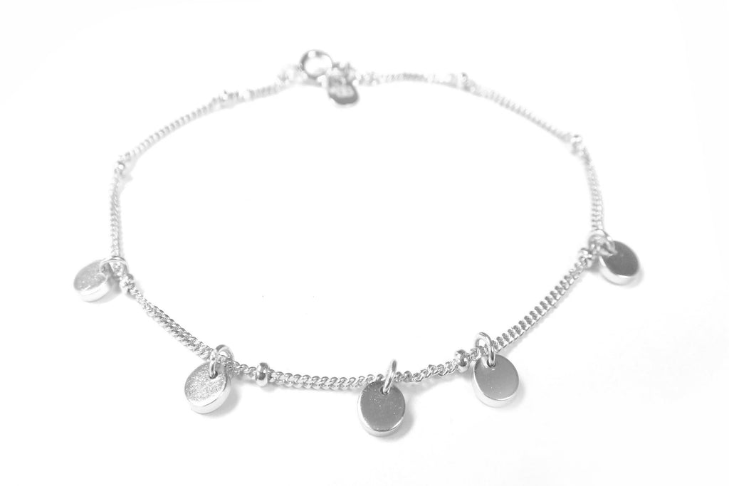 Cornflower Silver Mini Disc Charm Bracelet - Boho Betty