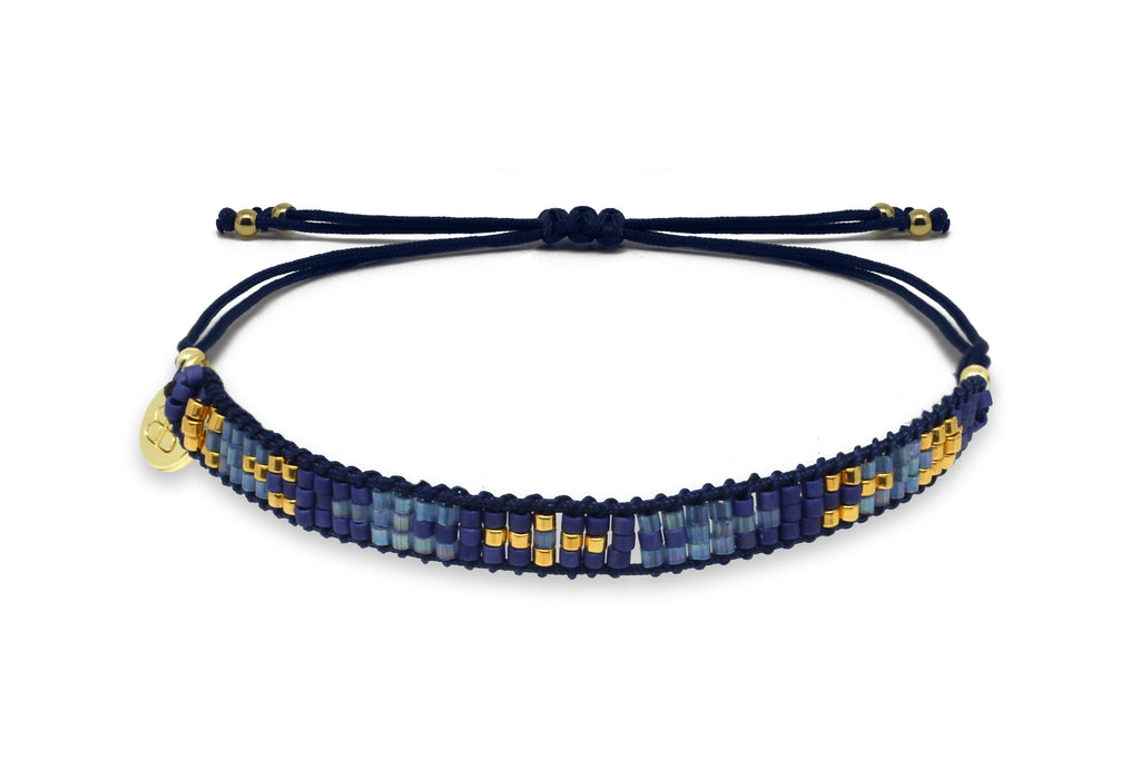 Creole Blue & Gold 3 Row Friendship Bracelet - Boho Betty