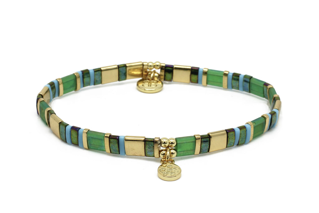 Delicado Green Tila Bead Stretch Bracelet - Boho Betty