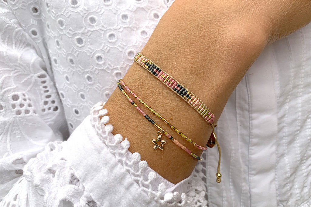 Clarinet Pink 2 Row Beaded Friendship Bracelet - Boho Betty
